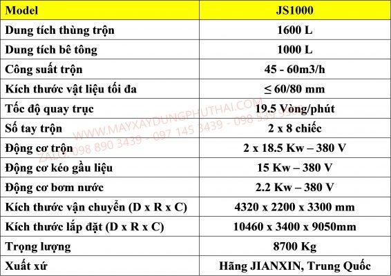 Thông số kỹ thuật cối trộn cưỡng bức JS1000
