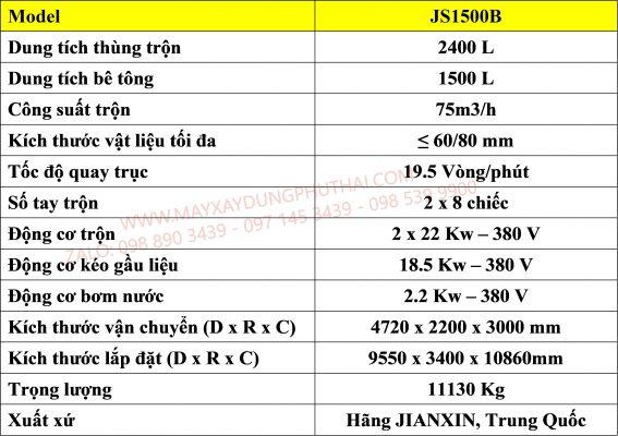 Thông số kỹ thuật máy trộn JS1500B
