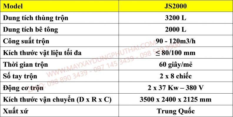 Bảng thông số kỹ thuật máy trộn bê tông JS2000