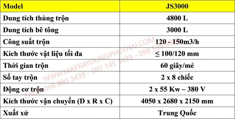 Bảng thông số kỹ thuật Cối trộn bê tông JS3000