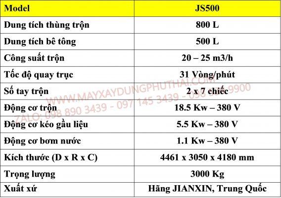 Thông số kỹ thuật máy trộn JS500