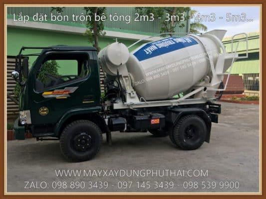 Lắp đặt bồn trộn bê tông lên xe tải
