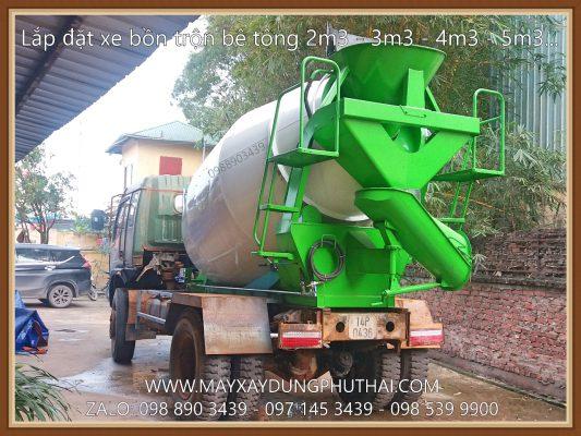 Lắp đặt bồn trộn HPT4 lên xe tải ben