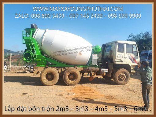 Lắp đặt bồn trộn bê tông thủy lực lên xe tải