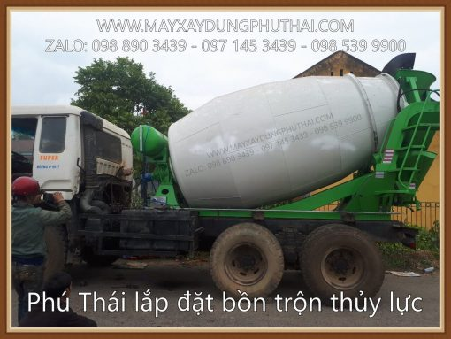Lắp đặt bồn trộn thủy lực 5m3 gắn lên xe tải